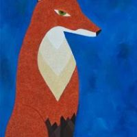 Fox with Diamond Moon 36x18 $1450